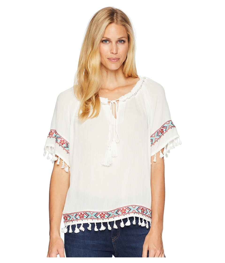 Rock and Roll Cowgirl - 3/4 Sleeve Top B4-6067 (White) Womens Clothing