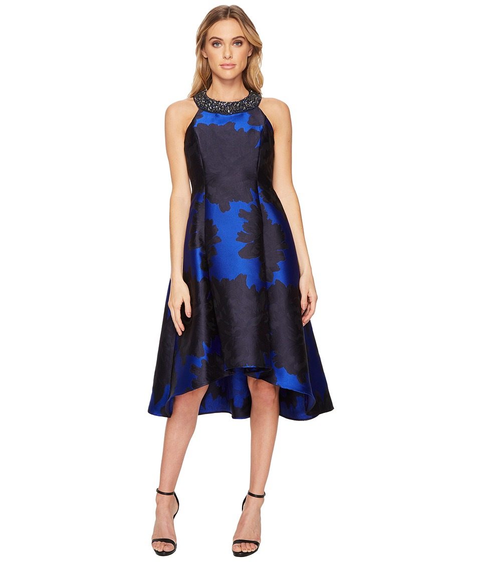 Adrianna Papell - Jewel Neck Printed Halter Cocktail Dress with High