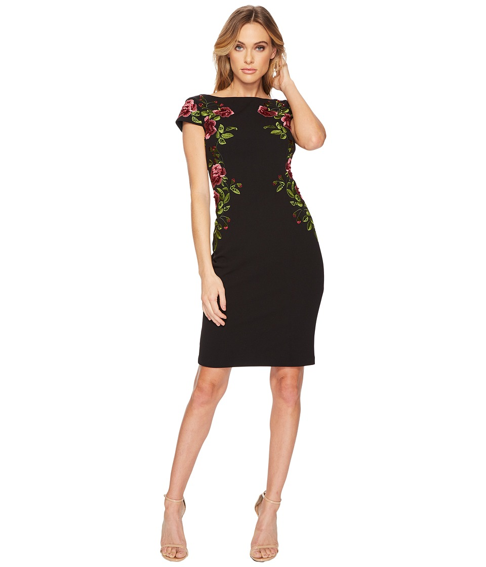 Adrianna Papell Cap Sleeve Embroidered Crepe Cocktail Dress (Black Multi) Women