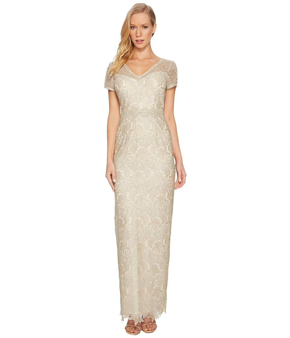 Adrianna Papell - Short Sleeve V-Neck Long Metallic Lace Gown