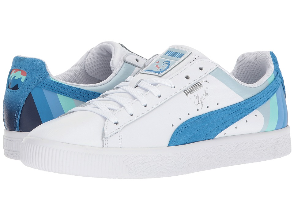 PUMA - Clyde - Pink Dolphin (Puma White/French Blue) Mens Shoes