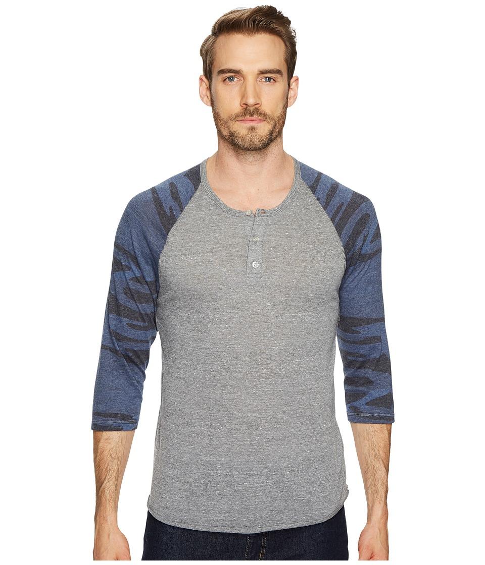 Image of Alternative - 3/4 Raglan Henley (Eco Grey/Navy Camo) Men's Long Sleeve Pullover
