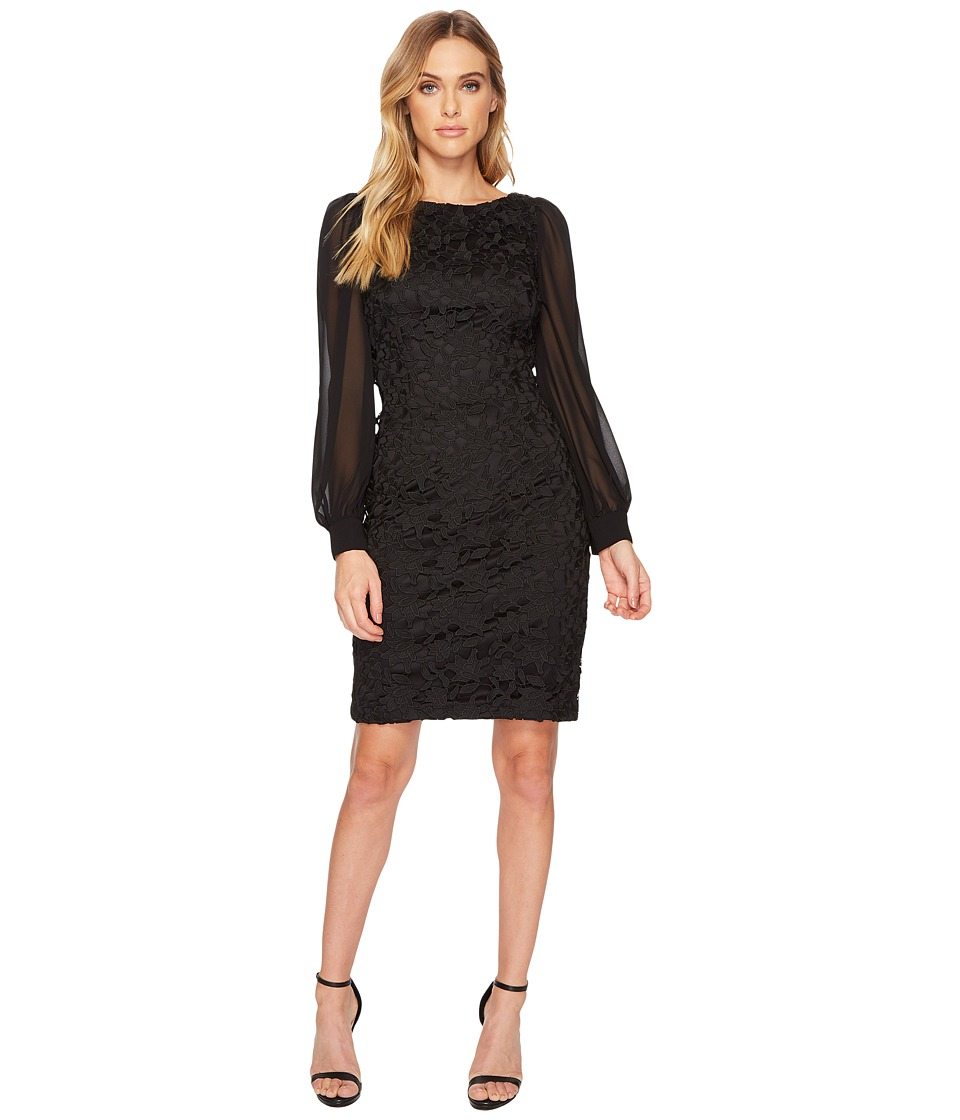 Adrianna Papell Bishop Sleeve Ava Lace Sheath Dress (Black) Women