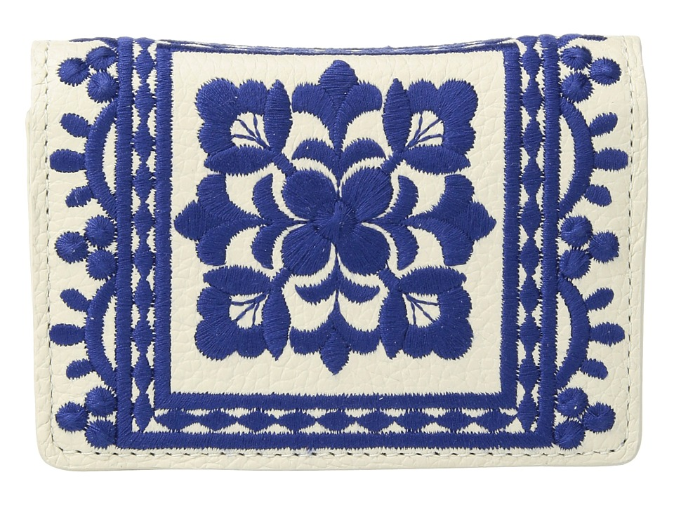 Brighton - Casablanca Garden Embroidered Card Case (White/Blue) Credit card Wallet