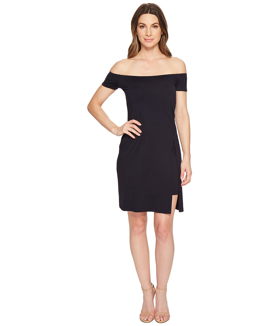 Susana Monaco - Gabrielle Off Shoulder Double Layer Dress (Midnight) Womens Dress