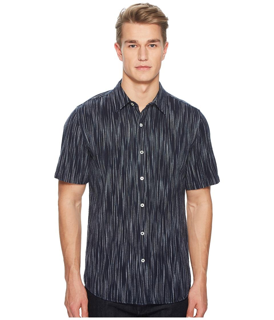 BALDWIN - Buena Stripe Short Sleeve Shirt (Indigo/White) Mens Short Sleeve Button Up