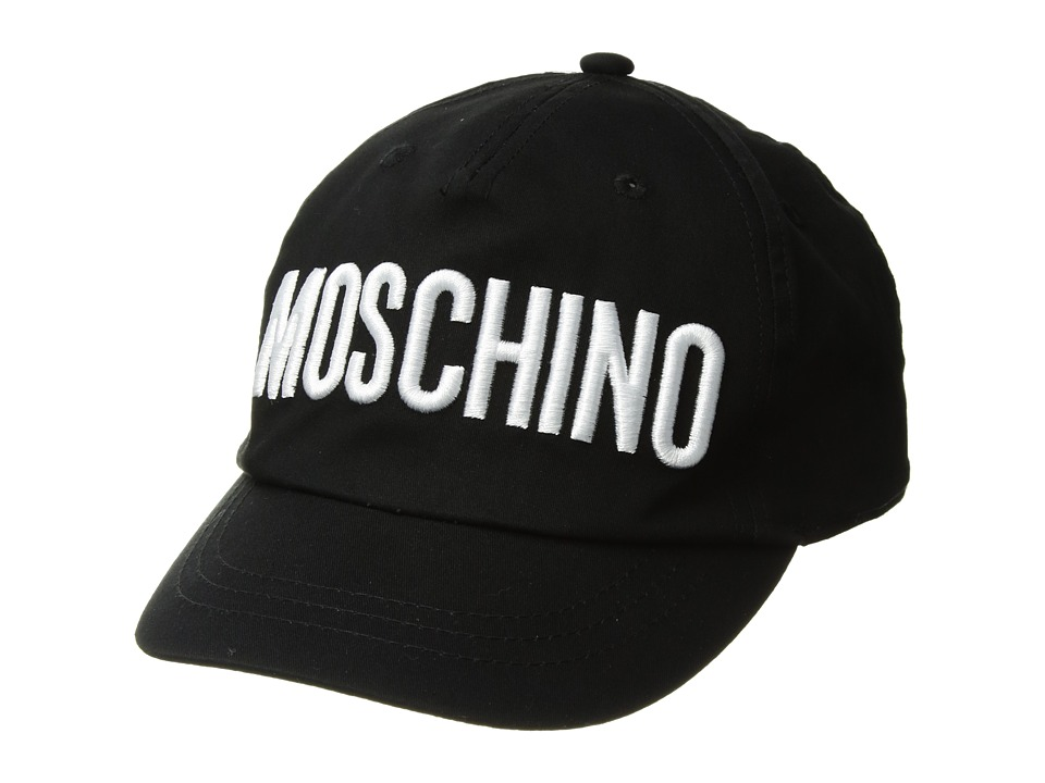 Moschino Kids - Hat w/ Logo Embroidery (Big Kids) (Black) Caps