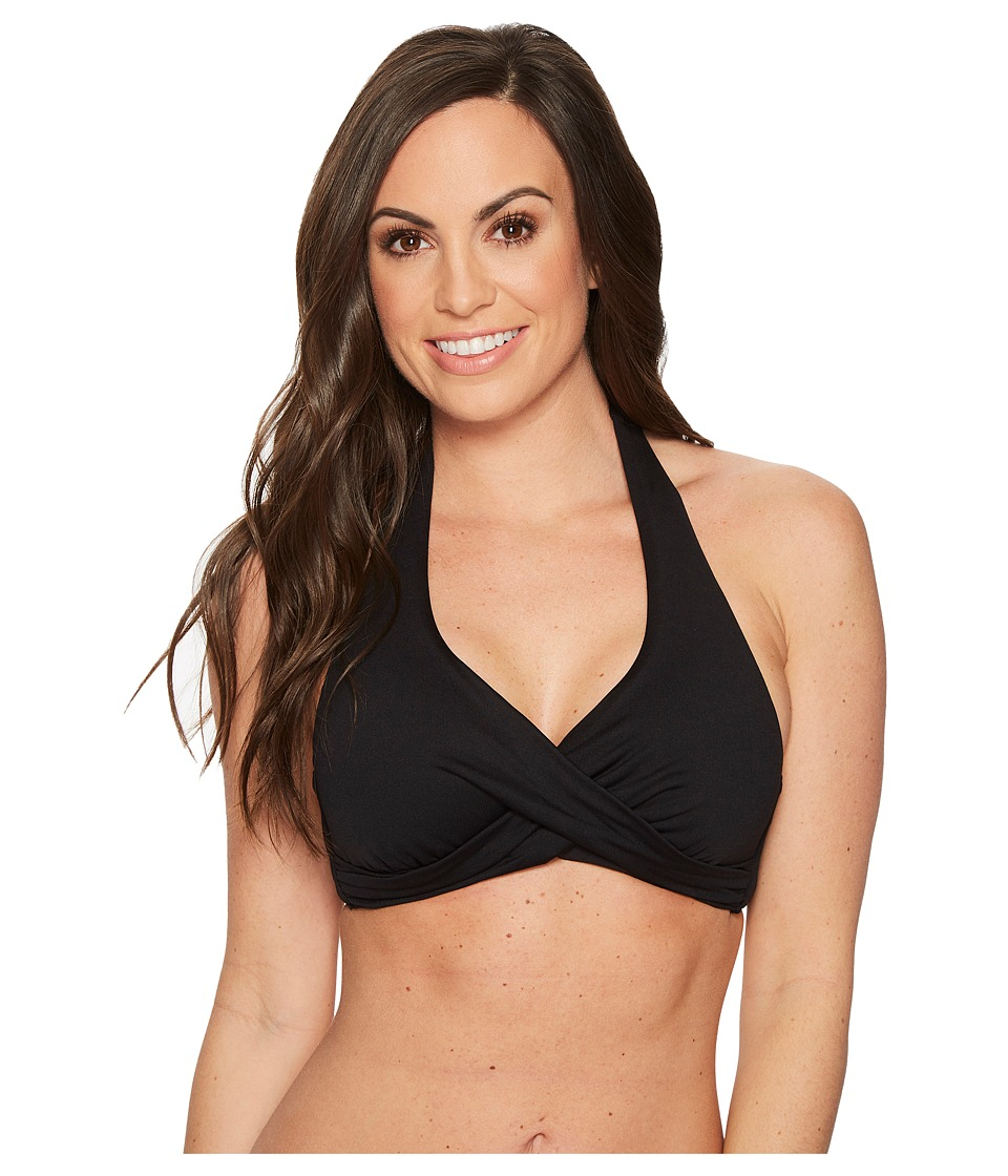 Seafolly Core D-Cup Twist Halter Top (Black) Women