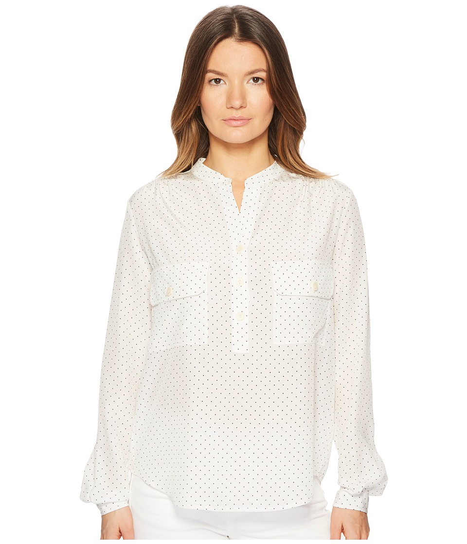 Vince - Polka Dot Utility Shirt (White/Black) Womens Long Sleeve Button Up