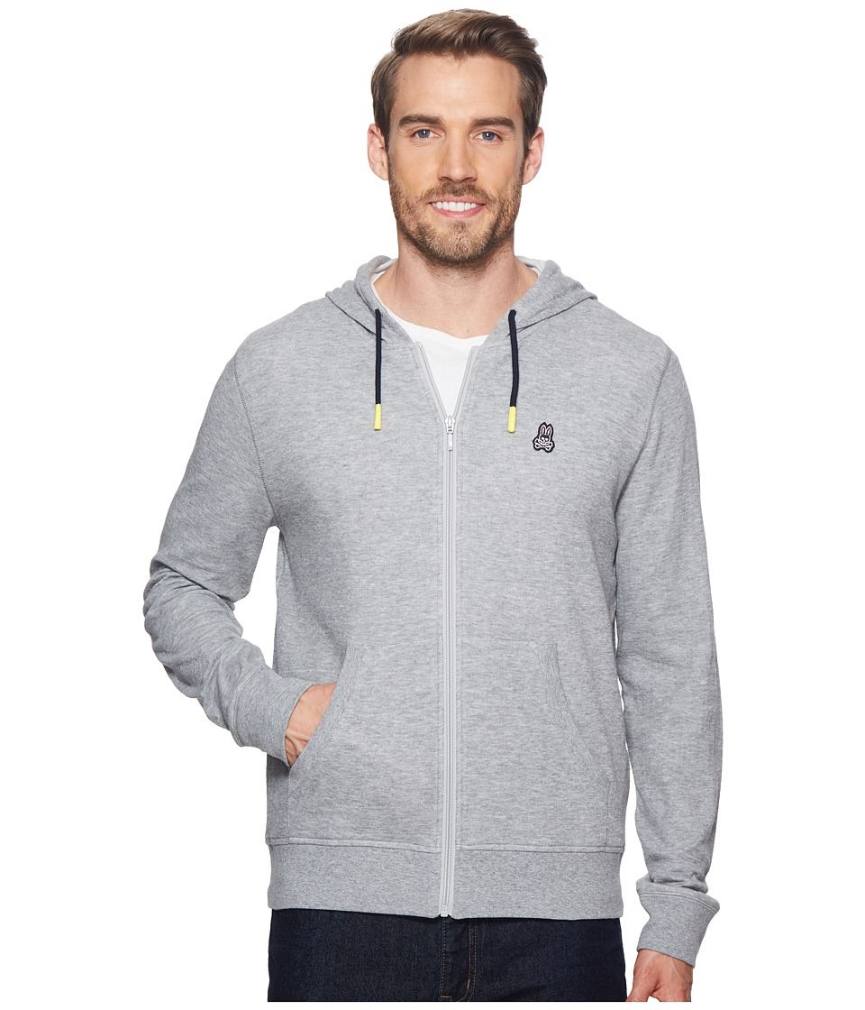Psycho Bunny - Double Face Hoodie w/ Printed Interior Logo (Heather Grey) Mens Sweatshirt