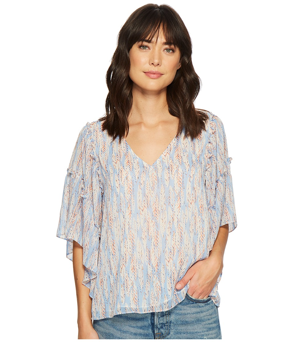 Miss Me - V-Neck Ruffle Sleeve Top (Blue) Womens Clothing