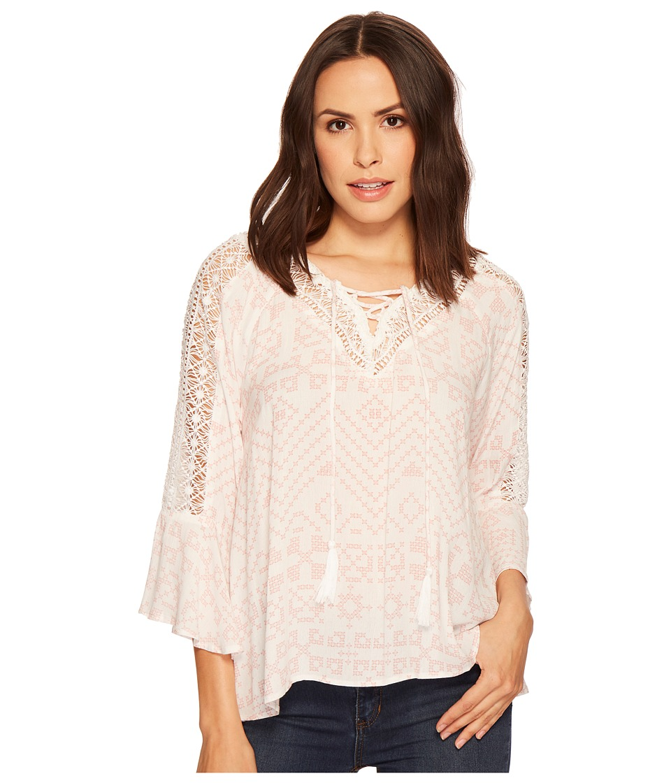 Miss Me - V-Neck Embroidered Top (Multi White) Womens Clothing
