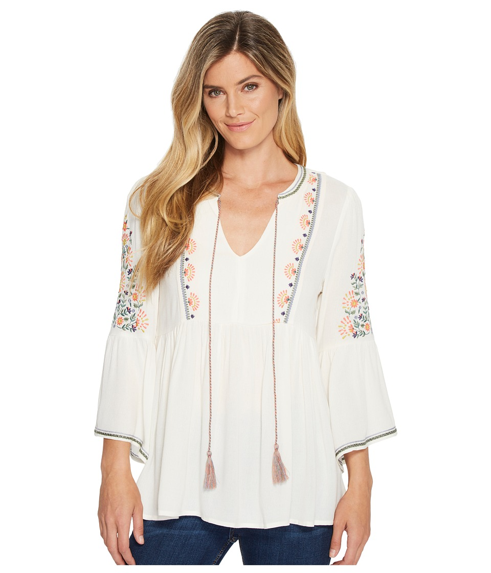 Miss Me Floral Embroidered Bell Sleeve Blouse (Ivory Whit...