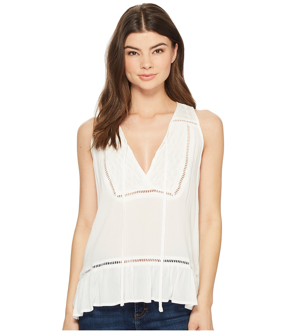 Miss Me - Embroidered Trim Sleeveless Top (Off-White) Womens Clothing