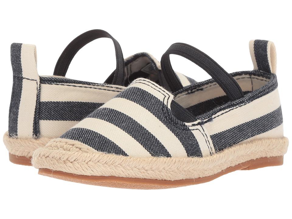 Polo Ralph Lauren Kids - Beakon (Toddler) (White/Navy Striped) Girls Shoes