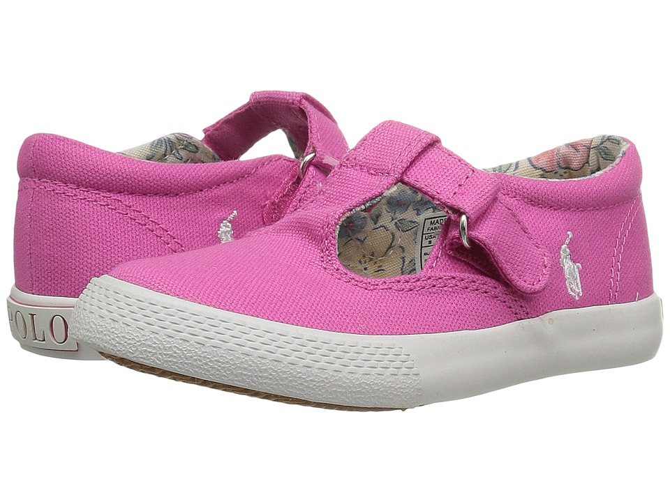 Polo Ralph Lauren Kids - Tabby T-Strap (Toddler) (Baja Pink Canvas/White Pony Player) Girls Shoes