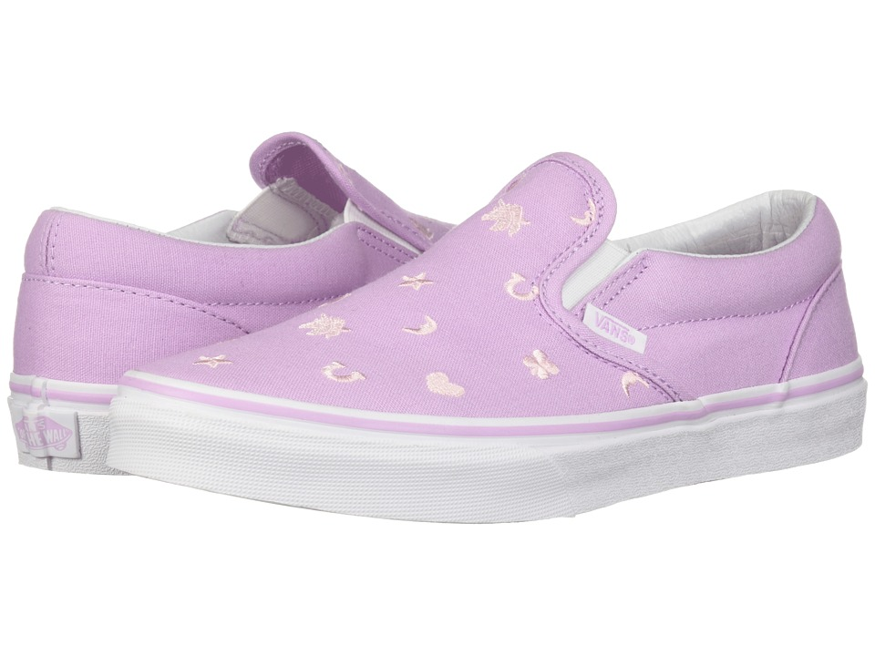 Vans Kids Classic Slip-On (Little Kid/Big Kid) ((Charms) Embroidery/Orchid Bouquet) Girls Shoes