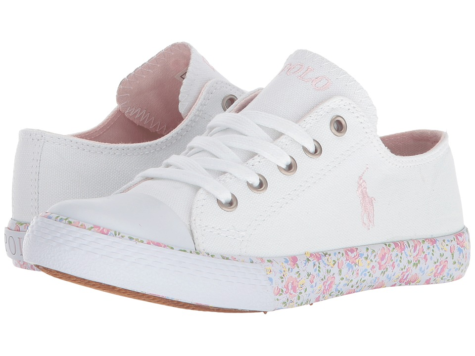 Polo Ralph Lauren Kids Slone (Little Kid) (White Canvas/Light Pink Pony  Player/Printed Floral Foxing) Girl\u0027s Shoes