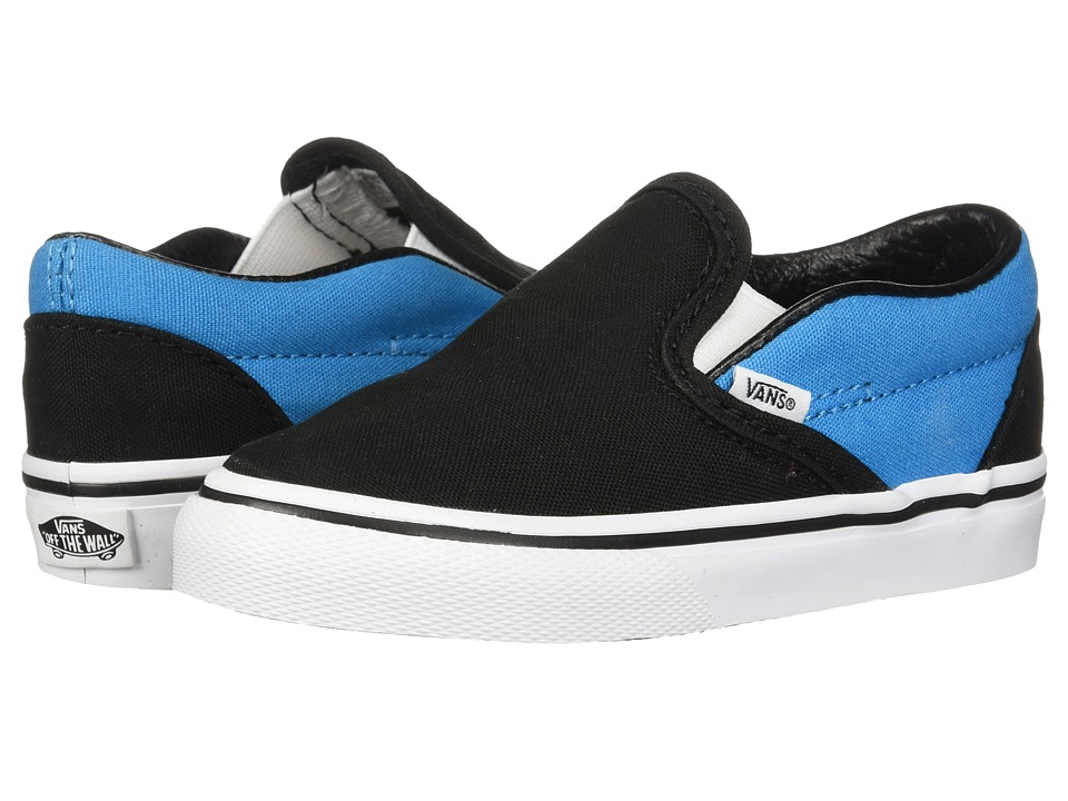 Vans Kids - Classic Slip-On (Infant/Toddler) (Black/Vivid Blue) Boys Shoes