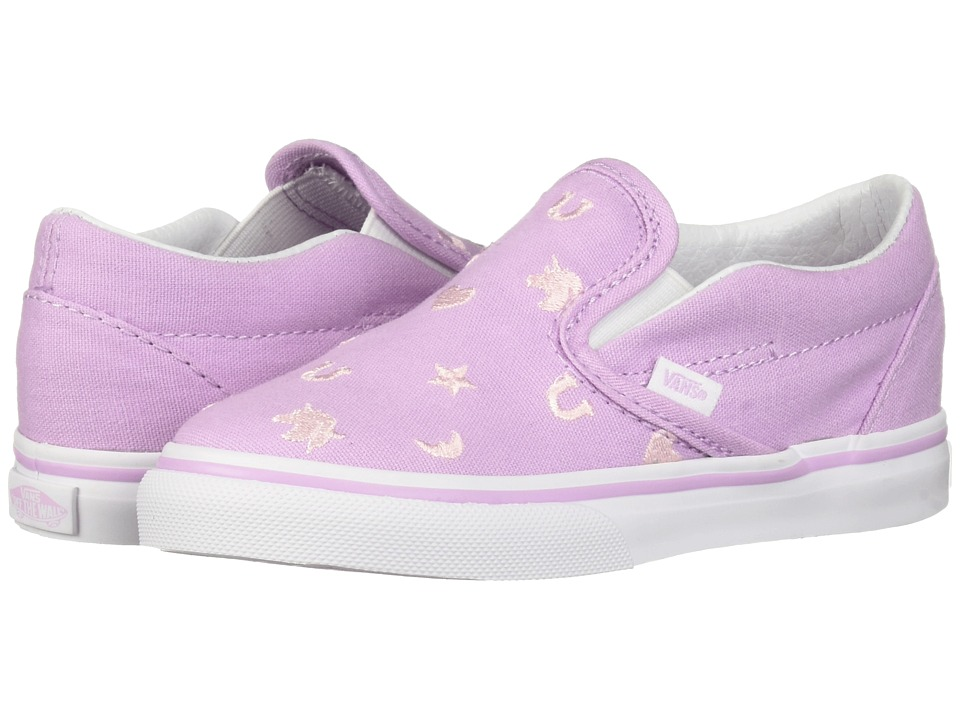 Vans Kids Classic Slip-On (Infant/Toddler) ((Charms) Embroidery/Orchid Bouquet) Girls Shoes