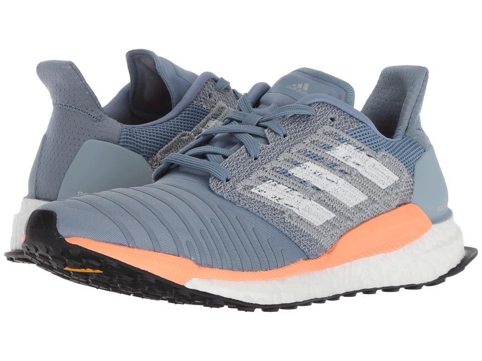 adidas Running Solar Boost (Raw Grey/White/Chalk Coral) Women's Running Shoes