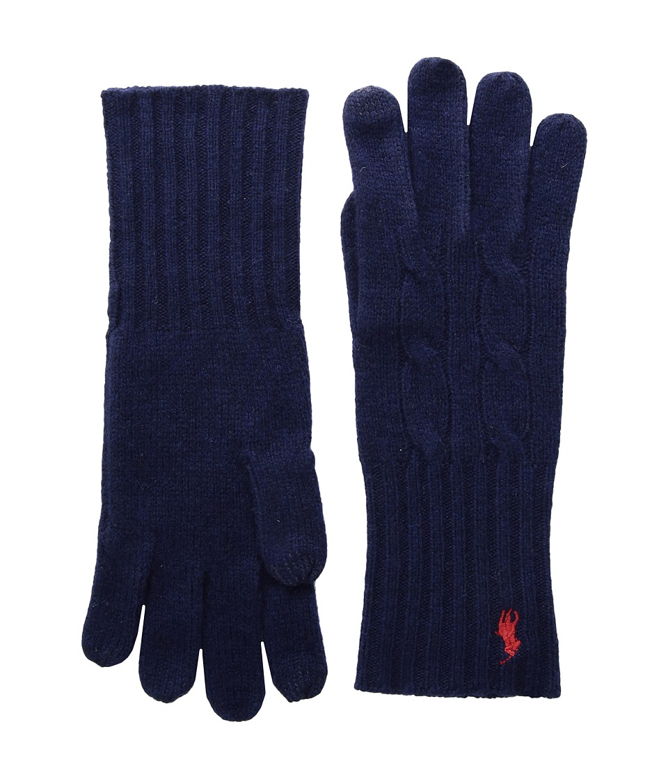 Polo Ralph Lauren Cashmere Blend Classic Cable Knit Gloves (Bright Navy) Extreme Cold Weather Gloves