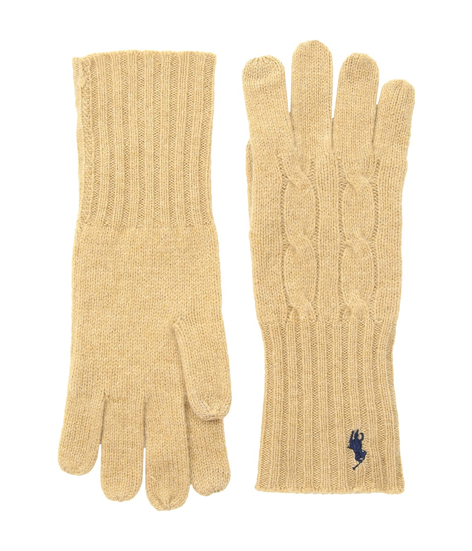 Polo Ralph Lauren Cashmere Blend Classic Cable Knit Gloves (Camel Melange) Extreme Cold Weather Gloves