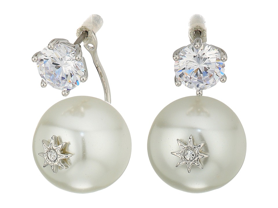 Betsey Johnson - Blue by Betsey Johnson Cubic Zirconia Stone Studs with Pearl Ear Jacket Attached at Back Earrings (Crystal) Earring