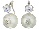 Betsey Johnson Blue by Betsey Johnson Cubic Zirconia Stone Studs with Pearl Ear Jacket Attached at Back Earrings