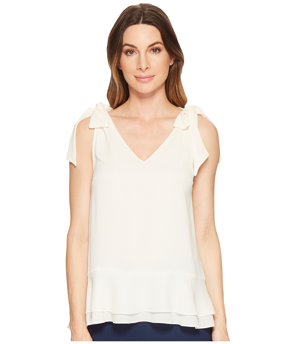 CeCe Short Sleeve V-Neck Layered Blouse (Antique White) W...