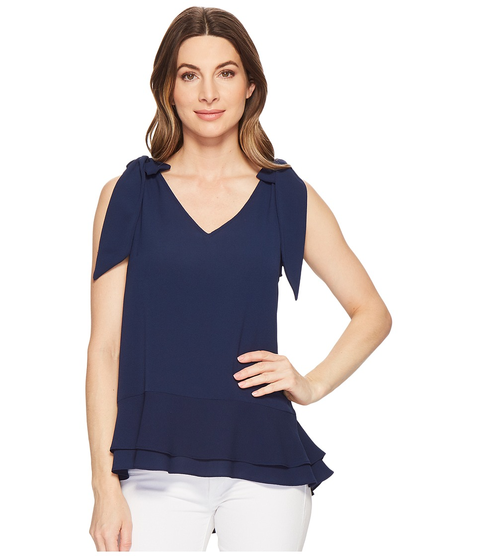 CeCe Short Sleeve V-Neck Layered Blouse (Naval Navy) Wome...