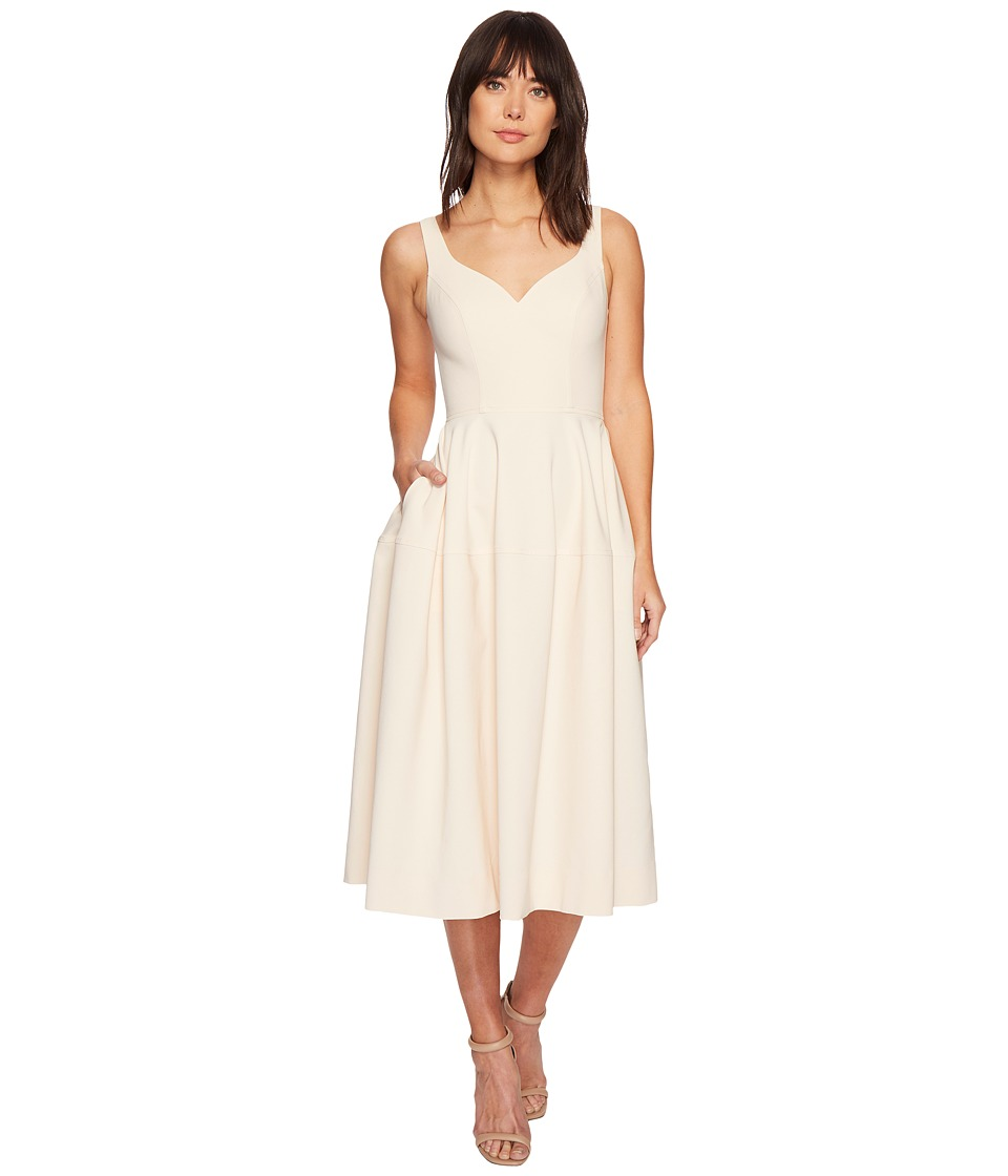 JILL JILL STUART - Midi Sweetheart Crepe Fit Flare (Alabaster) Womens Dress