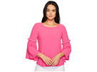 CeCe Bell Sleeve Crepe Knit Top with Smocking