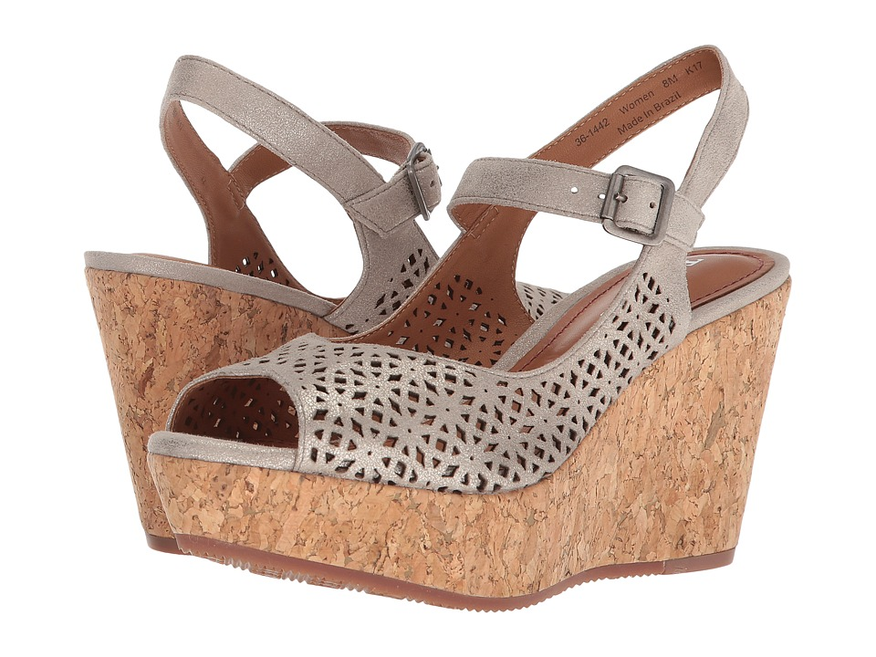 Trask Patti (Bone Metallic Suede) Wedges