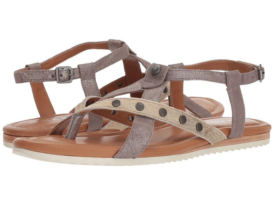 Trask Shayla (Pewter Metallic Suede/Bone Acid Wash Metallic Haircalf) Sandals