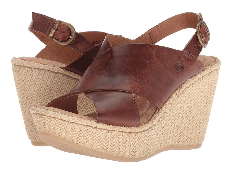Born - Emmy II (Brown Full Grain Leather) Womens Wedge Shoes