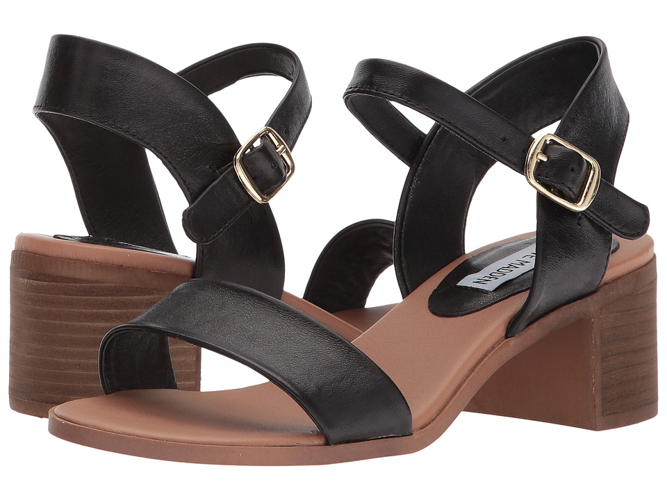 Steve Madden April Block Heel Sandal (Black Leather) Women's Shoes