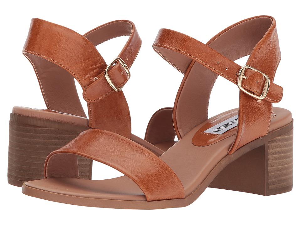 Steve Madden April Block Heel Sandal (Cognac Leather) Women's Shoes