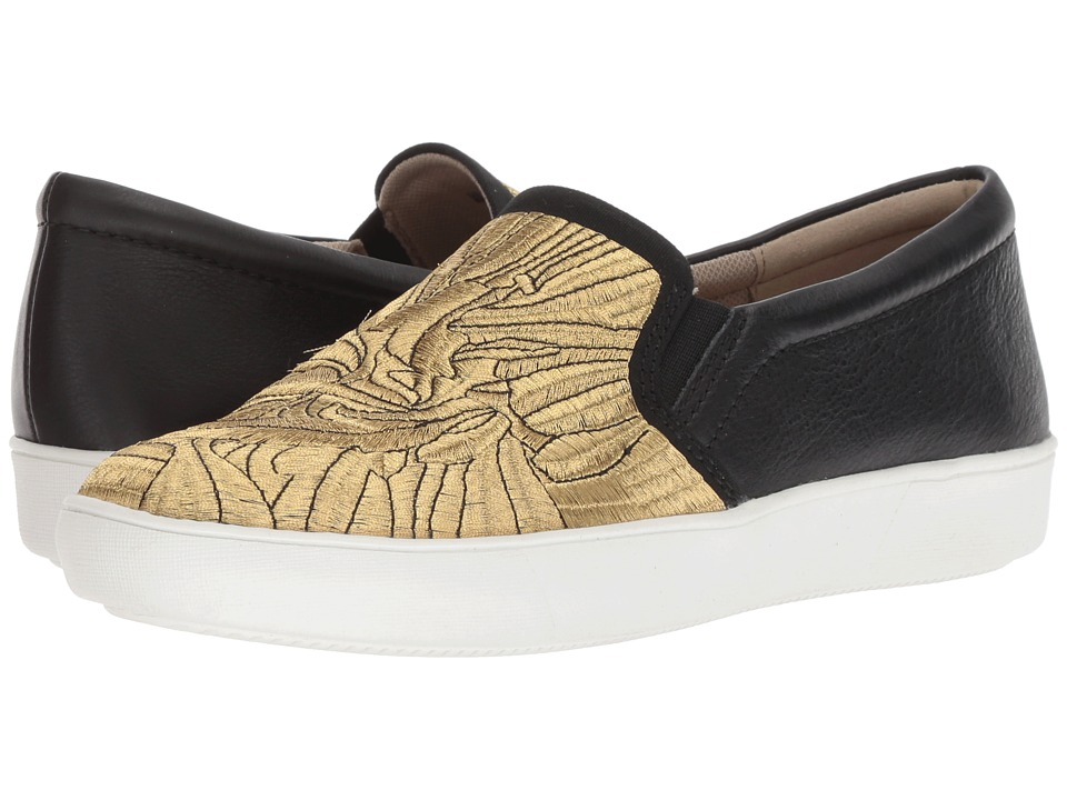 Naturalizer Marianne (Black/Gold Embroidered Fabric/Leather) Women's Shoes