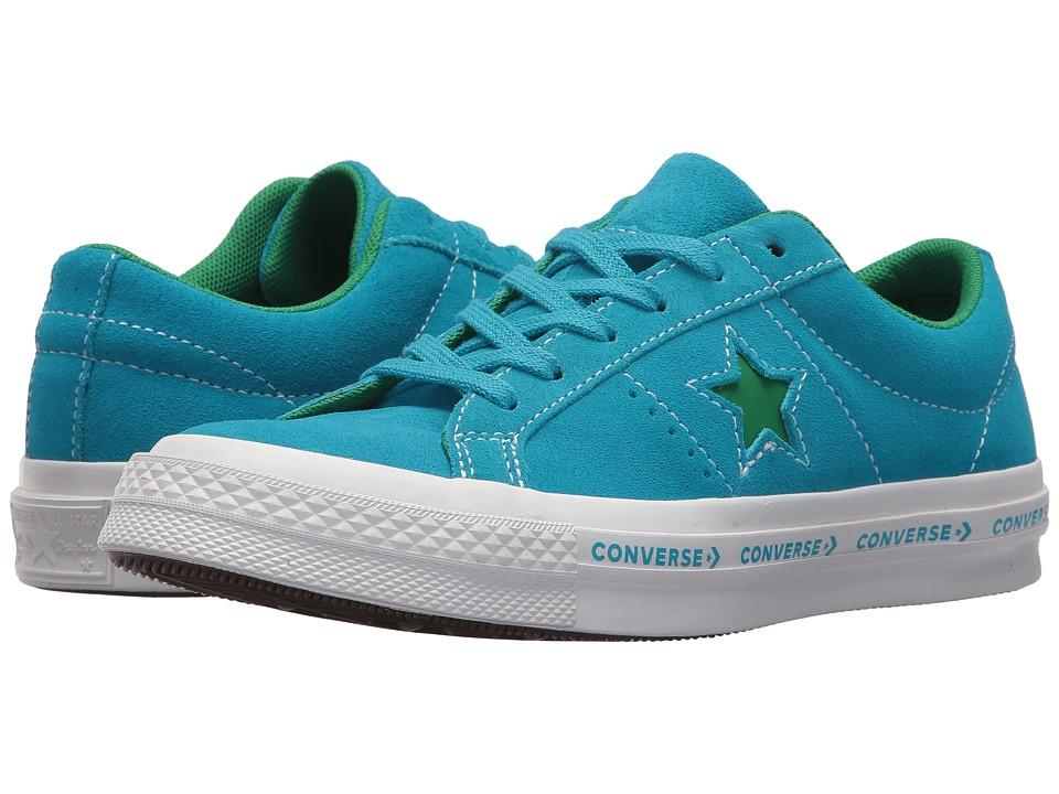 Converse Kids One Star Ox (Big Kid) (Hawaiian Ocean/Jolly Green/White) Kids Shoes