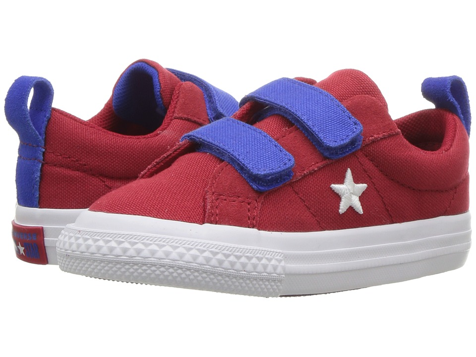 Converse Kids One Star 2V Ox (Infant/Toddler) (Gym Red/Hyper Royal/White) Boys Shoes