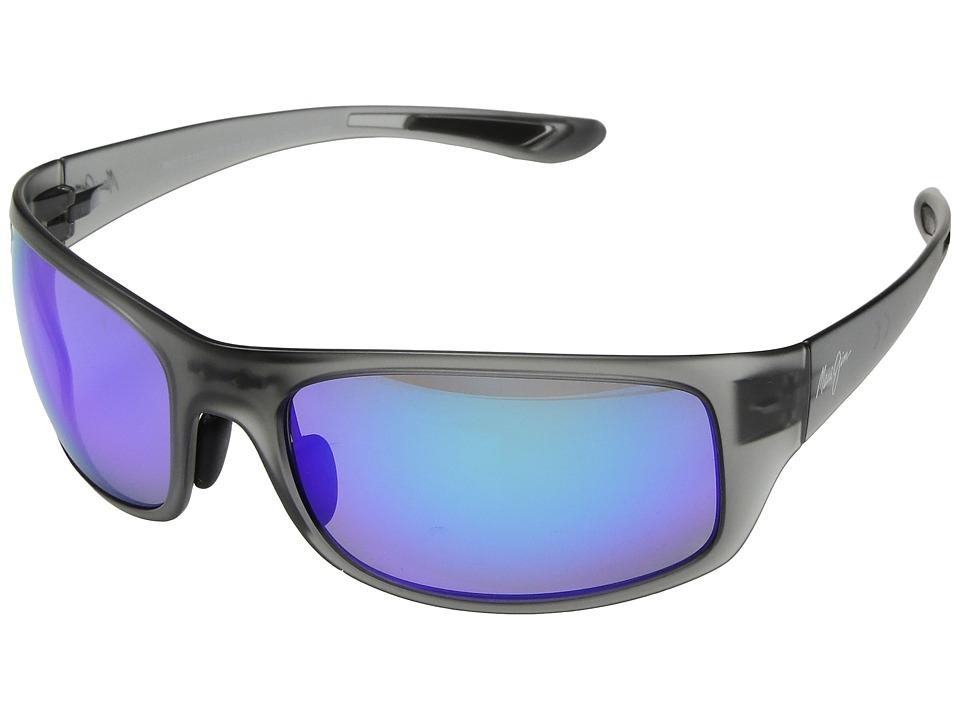 Maui Jim - Big Wave (Translucent Matte Grey/Blue Hawaii) Athletic Performance Sport Sunglasses