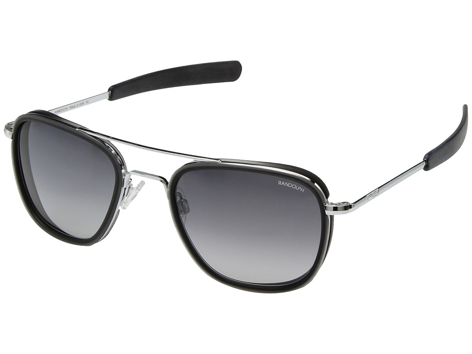Randolph - Aviator 55mm (Bright Chrome/Gray Gradient Nylon) Fashion Sunglasses