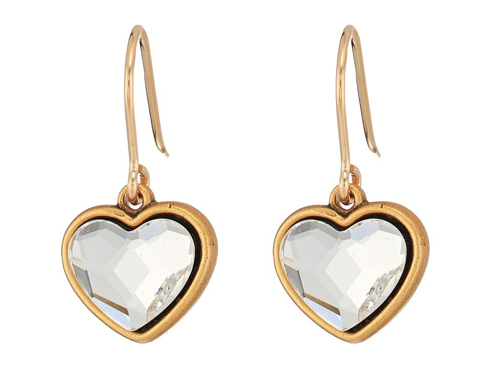 Alex and Ani - Crystal Heart Hook Earrings (Rafaelian Gold) Earring