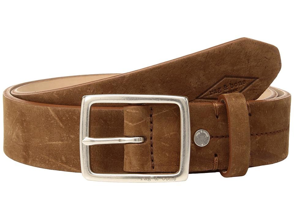 rag & bone - Suede Rugged Nickel Belt (Brown) Men's Belts