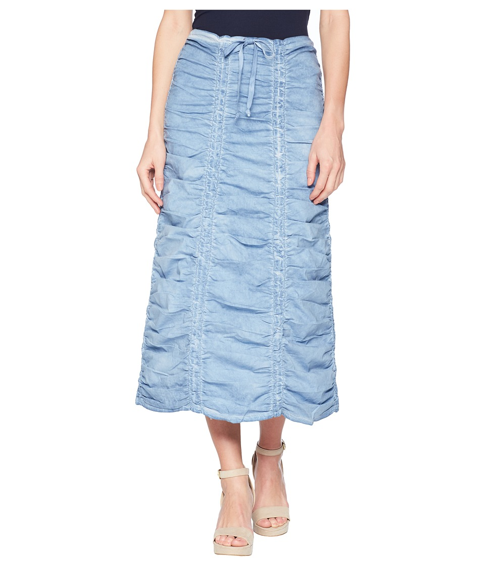 XCVI - Stretch Poplin Double Shirred Panel Skirt (Cold Wash Blue) Womens Skirt