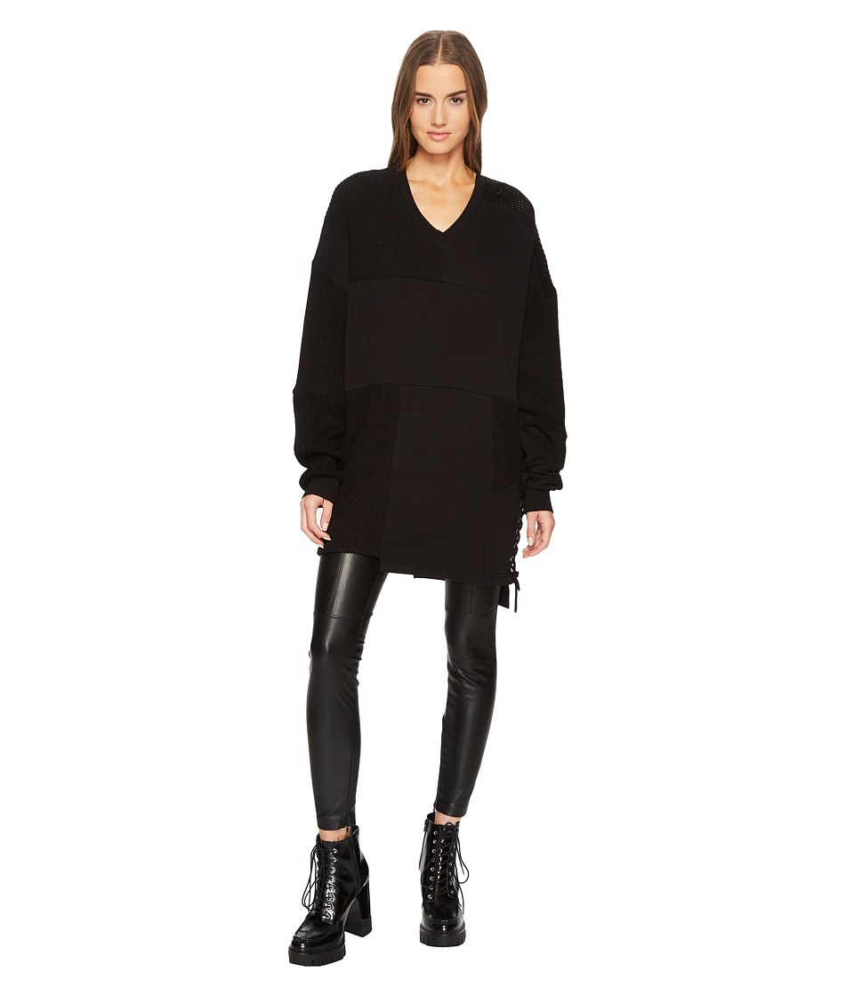 McQ - Lace Patched Sweater (Darkest Black) Womens Sweater