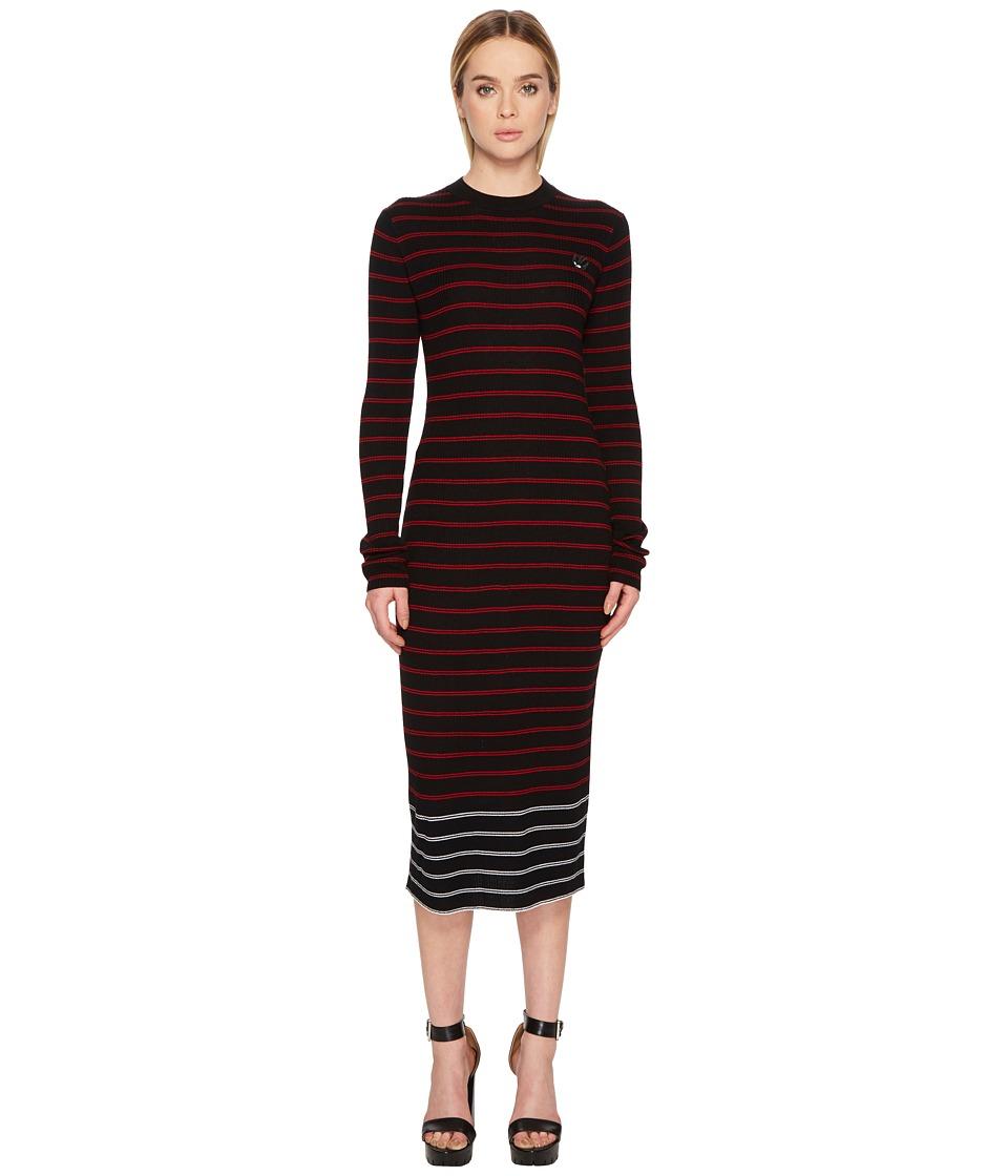 McQ - Swallow Distorted Striped Dress (Black/AMP) Womens Dress