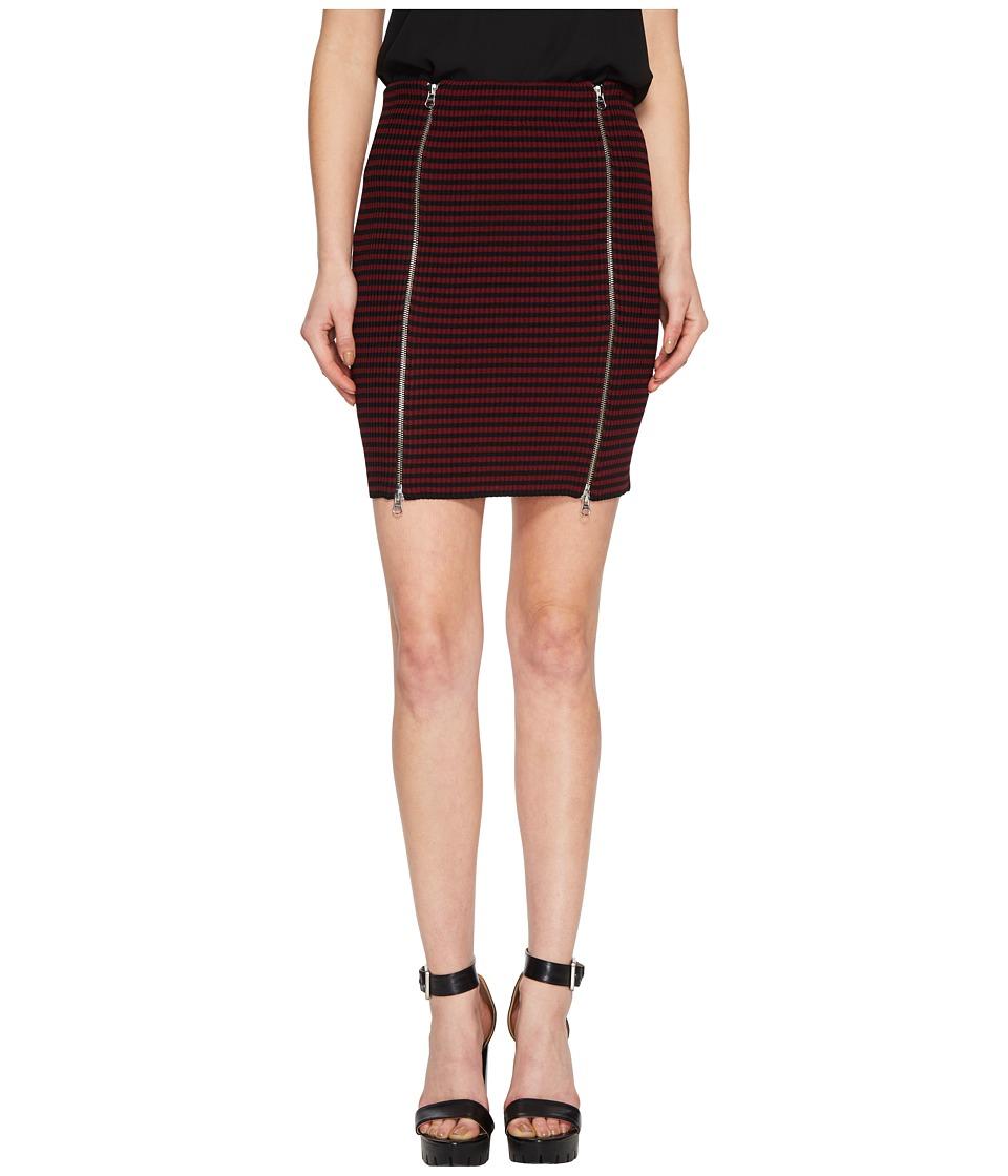 McQ - Bodycon Zip Short Skirt (Dark Black/Cherry) Womens Skirt