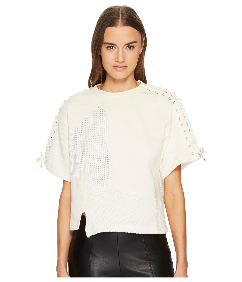 McQ - Lace Patched T-Shirt (Ivory) Womens T Shirt